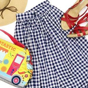 VINTAGE • navy gingham maxi skirt